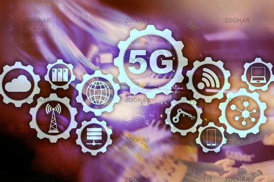 5G Network, 5G internet Connection Concept in digital background. Smart communication network concept