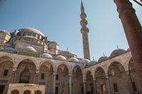 Istanbul, Turkey, 25 March 2019: Suleymaniye Mosque in summer, Turkey. Suleymaniye Mosque is a famous landmark of Istanbul. Sunny view of courtyard of the Suleymaniye Camii. Magnificent Ottoman architecture