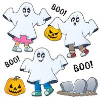 Kids in ghost costumes theme image 1