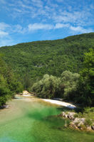 Sava Bohinjka River near Lake Bohinj in Triglav National Park,Slovenia