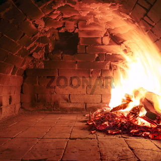 Wood burning oven ready to cook