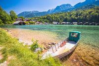 Konigssee Alpine lake wooden village coastline and beach view