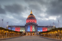 San Francisco City Hall lit in Red, Green, Blue, and Yellow for the Eritrean Independence Day.