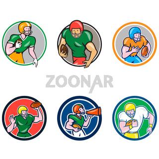 American Football Player Circle Cartoon Collection Set
