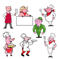 Pig Worker Mascot Cartoon Set