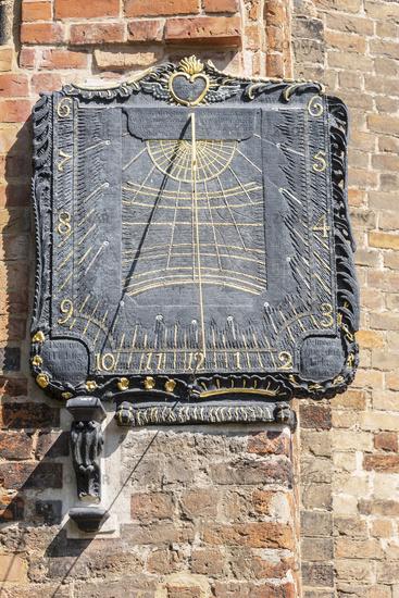sundial, abbey church, Buetzow, Mecklenburg-Western Pomerania, Germany, Europe