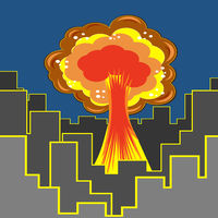 Nuclear Burst in City. Cartoon Bomb Explosion in Downtown. Radioactive Atomic Power. Symbol of War. Big Mushroom Cloud