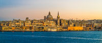 Sunset view of Valletta, the capital of Malta.