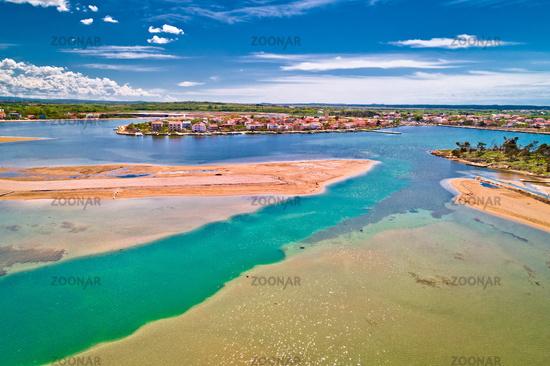 Historic town of Nin laguna and beach sandbars aerial view