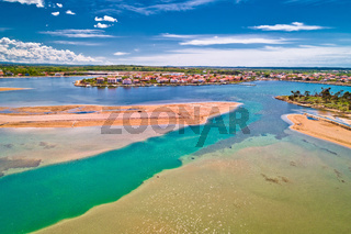 Historic town of Nin laguna and beach sandbars aerial view
