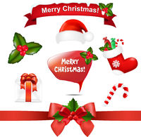Merry Christmas Icons And Speech Bubble