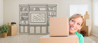 Woman Inside Room With Moving Boxes Glancing Toward Entertainment Unit Drawing on Wall
