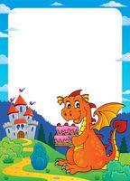 Dragon holding cake theme frame 2