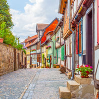 Old picturesque street in Quedlinburg
