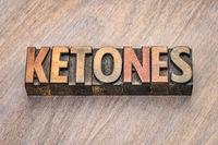 ketones word in wood type