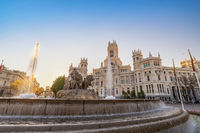Madrid Spain, city skyline sunrise at Cibeles Fountain and CentroCentro