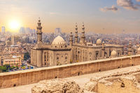 Famous mosque of Sultan Hassan in Cairo, aerial view