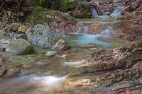 Waterfall in Schleifmuehlenklamm gorge in Unterammergau