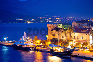 Town of Korcula yachting harbor evening view
