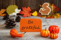 Label With Autumn Decoration, Text Be Grateful