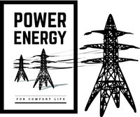Power lines silhouette vector illustration isolated on white