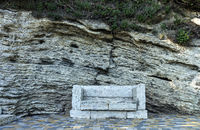 Natural stone bench.