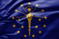 Waving state flag of Indiana - United States of America