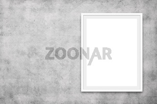 white picture frame on concrete wall - blank canvas mock up -