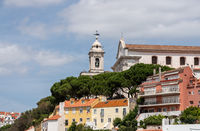 Bell tower of Graca church in Alfama district of Lisbon