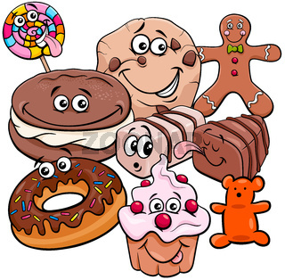 funny candy cartoon characters group