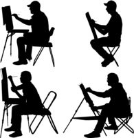 Set silhouette, artist at work on a white background