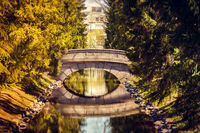 Bridge in the spring in the park. Bridges Russia. Park Russia. Old bridge. Crossing the river
