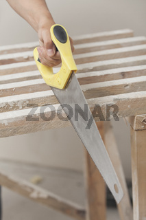 Sawing of wooden whetstone