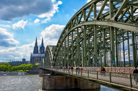 Tourists on Hohenzollernbridge in Cologne