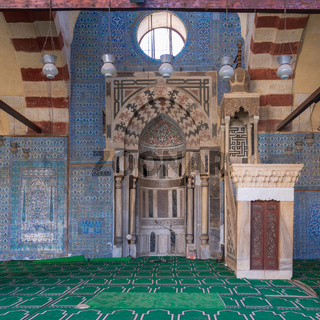 Blue ceramic tiles, Engraved Mihrab (niche) and decorated marble Minbar (Platform), Mosque of Aqsunqur (Blue Mosque), Cairo, Egypt