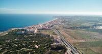 Aerial view La Mata coastline. Spain