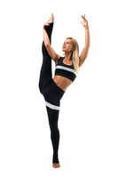 Slim woman doing fitness isolated shot