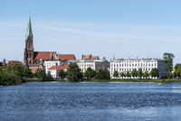 cathedral, Burgsee lake, Schwerin, Mecklenburg-Western Pomerania, Germany, Europe