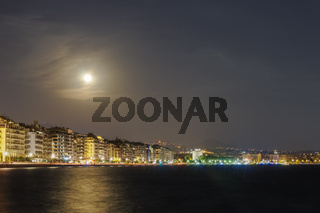 August 2018 full moon over Thessaloniki, Greece waterfront.