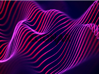3D visualization of sound waves. Big data or information concept: Red chart.