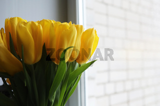 A bouquet of fresh yellow tulips in a vase