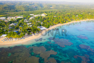 Top view of tropical beach at sunny day