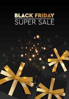 Black Friday Sale. Banner, poster, logo golden color on dark background. Design with realistic black gift boxes with golden ribbon, vector illustration.