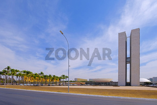 Brasilia, Brazil, August 7, 2018: The National Congress of Brazil in Brasilia, designed by Oscar Niemeyer, Brazil