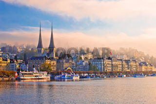 Town of Luzern morning fog view from lake