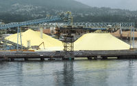 Large Sulphur Piles At Industrial Port in Vancouver