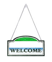 Sierra Leone welcomes you! Old metal sign isolated