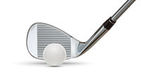 Chrome Golf Club Wedge Iron and Golf Ball on White Background