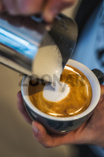 Pouring Coffee Latte Art Brown Cup Barista Working Hands Holding Mug