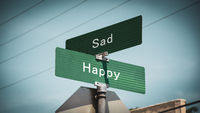 Street Sign to Happy versus Sad